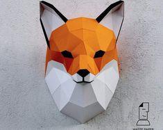Papercraft fox head printable DIY template 8 by WastePaperHead Diy Paper, Paper Crafting, Metal Animal, Panda Head, Fox Mask, Fox Head, Unicorn Head, Modelos 3d, 3d Origami