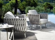 Tribu Tosca Garden Club Chair - Tribu Outdoor Furniture At Go Modern Outdoor Furniture Sofa, Modern Garden Furniture, Contemporary Outdoor Furniture, Contemporary Garden, Outdoor Chairs, House Columns, House Front Design, Modern Patio, Patio Design