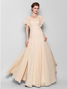 17c4658a7c2   83.99  Sheath   Column Scoop Neck Floor Length Chiffon Mother of the Bride  Dress with Pearls by LAN TING BRIDE®