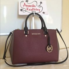MK Medium Merlot Sutton Please email me to find out more details for your chance to win this full retail MK Sutton. Michael Kors Bags Satchels