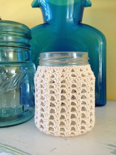 Mason Jar Crocheted Cover, Candle Holder, Vase, Pencil Holder, Drink Cup, Beach Wedding, Rustic Wedding Decor, Hostess Gift, Natural Cotton