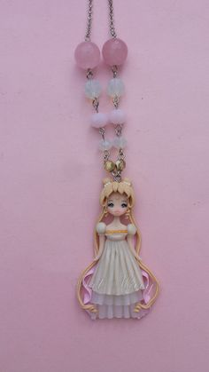 sailor moon necklace in fimo polymer clay by Artmary2 on Etsy