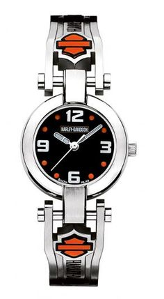 Harley-Davidson® Women's Orange Bar & Shield Watch by Bulova Harley Davidson Watches, Harley Davidson Jewelry, Harley Davidson Merchandise, Harley Davidson Gifts, Motorcycle Cover, Motorcycle Outfit, Motorcycle Fashion, Hd Motorcycles, Harley Davidson Motorcycles