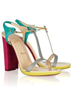 $235  Christian Louboutin Sylvieta 120 color-block leather sandals