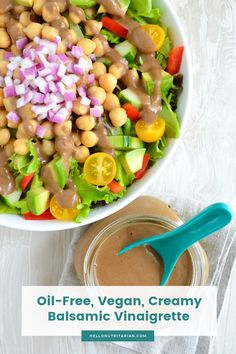 Creamy Balsamic Vinaigrette Dressing Recipe that's vegan, no oil, WFPB, SOS-free and perfect when yo Oil Free Salad Dressing, Salad With Balsamic Dressing, Vinaigrette Dressing, Creamy Balsamic Vinaigrette, Eat To Live Diet, Nutritarian Diet, Vegetarian Recipes, Healthy Recipes, Along The Way
