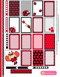 FREE Printable Ladybug Stickers for Happy Planner and Erin Condren Life Planner by Cutedaisy
