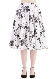 Benefit of the Flounce Skirt in White Floral - White, Floral, Work, Casual, 50s, French / Victorian, High Waist, Full, Spring, Summer, Cotton, Woven, Better, White, Long, Black, Vintage Inspired
