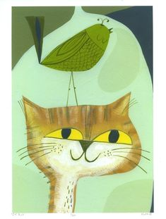 Cat Bird 85 x 11 print by Matte Stephens by matteart on Etsy, $35.00