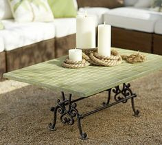 Tile Top Coffee Table #potterybarn ~ I'm thinking of doing a tile top on my Grandmother's sewing machine base and using as a buffet table on the deck.
