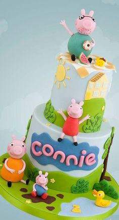 Peppa Pig Cake Ideas - Family Picnic Cake Birthday Party Cake, Peppa Pig, George Pig, Daddy Pig, Mummy Pig, Grandpa Pig, Granny Pig, Gertrude Train, Peppa House, Muddy Puddle, Red Car