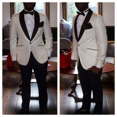 Ivory tuxedo with black Satin Shawl lapel.   #menswear #tuxedo #whitetux #menstuxedo