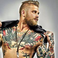 Beard man hair tattoos sexy as shit