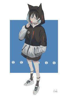 Kai Fine Art is an art website, shows painting and illustration works all over the world. Anime Neko, Kawaii Anime, Fanarts Anime, Anime Manga, Anime Art, Neko Neko, Manga Girl, Art Manga, Manga Characters