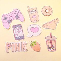 Pink cute sticker set (9) on Storenvy