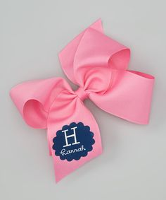 Take a look at this Hot Pink Personalized Initial Bow Clip by Lima Bean Kids on #zulily today!