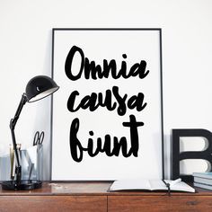 Omnia Causa Fiunt Everything Happens for a Reason Latin Quote Print Break Up Poster Downloadable Art Digital Download Gift for Yogis