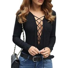 Black Plunge Neck Lace Up Front Long Sleeve T-shirt ($27) ❤ liked on Polyvore featuring tops, t-shirts, long sleeve t shirt, long sleeve tops, long tops, long t shirts and long-sleeve peplum top