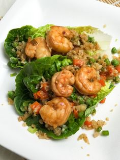 """Shrimp and cauliflower fried """"rice"""" lettuce cups. Gluten free, low carb, and full of flavor."""