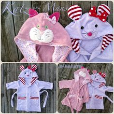 Kinder Bademantel Maus Katze Kapuze, cat and mouse bathrobe for children