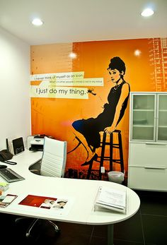 The Audrey art I designed a while back has finally been installed in our studio. Notice how she's leaning on the cabinet?      Fantastic !!    Have a Look at some Great Art Prints that I found!!  http://su.pr/4hf638