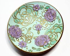 Pastel Mint & Lavender Wedding Ring Holder- Handmade Ring Dish- Polymer Clay Dish- Personalized Ring Dish Gifts for Her Birthday Anniversary