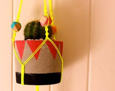 Macrame Plant Hanger - Geometric Beads - Neon - Bright