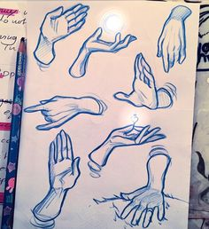 Anatomy Drawing Reference Of course yuna cant study without drawing a bunch of hands on the notes, help - Drawing Base, Figure Drawing, Drawing Drawing, Art Sketches, Art Drawings, Drawing Studies, Art Studies, Hand Drawing Reference, Anatomy Reference