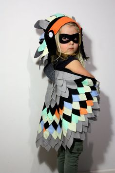 Neon Full Feathered Bird set costume dress up fancy dress..amazing party or festival costume for kids..imagine Glasto!