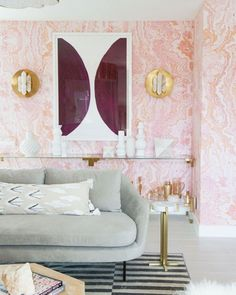 Best Shelfies: Sarah Sherman Samuel Guest Suite featuring Pink Agate wallpaper at Kelly Golightly's Palm Springs home.