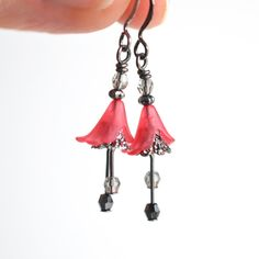 Red earrings, tulip drop earrings, vintage inspired dangle earrings, Calla lily flower earrings, woodland fairy drop earrings, gift for her