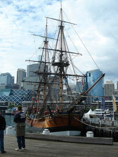 The Endeavor -- An old sailing ship on display at Darling Harbour - Sydney, Australia