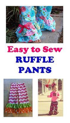 easy to sew Ruffle Pants - double ruffle pants PDF pattern