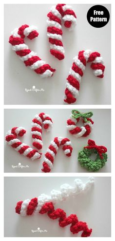 The Christmas Candy Cane Free Crochet Pattern is great for making last-minute gifts. Crochet Christmas Garland, Crochet Garland, Crochet Ornaments, Crochet Decoration, Holiday Crochet, Crochet Snowflakes, Candy Cane Ornament, Candy Cane Wreath, Candy Canes