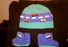 Highway hat and bootie set