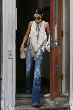 Vanessa Hudgens does flares and boho perfectly - Latest trends and fashion advice at www.littlepinkmoto.com