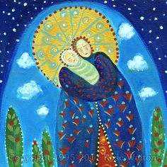 Mary's World primitive religious folk art archival giclée print by Pennsylvania folk artist Rose Walton blessed mother holy virgin. $14.99, via Etsy.