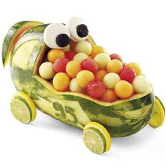 """Watermelon Race Car! Great for a """"Cars"""" theme party."""
