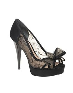 2fa1061cb4b Daliha lace bow peep toe shoes by Dune Black Lace Heels