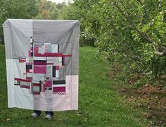 pink and gray improv quilt by filminthefridge, via Flickr