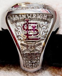 """The Cardinals' World Series rings feature 103 round diamonds and one """"rally squirrel"""" above home plate. St Louis Baseball, St Louis Cardinals Baseball, Cardinals Game, Cardinals News, 2011 World Series, World Series Rings, Championship Rings, Major League, Sports"""