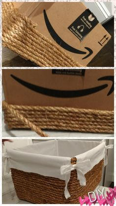 diy by. diy by me! All I needed was a cardboard box, some rope, a hot glue gu. - diy by. diy by me! All I needed was a cardboard box, some rope, a hot glue gu… Glue Gun Crafts, Rope Crafts, Diy Home Crafts, Diy Home Decor, Diy Glue, Kids Crafts, Upcycled Crafts, Burlap Crafts, Easy Crafts
