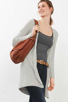 Esprit / Long cardigan ouvert, 100 % coton