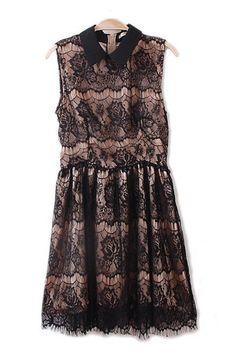 #6ks Sweet Pointed Collar Sleeveless Lace Dress