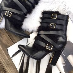Calvin Klein black leather faux fur boots These boots are so rad! Black leather with faux fur and super chic buckles. Some Knicks and scratches but that only adds character  Calvin Klein Shoes Heeled Boots