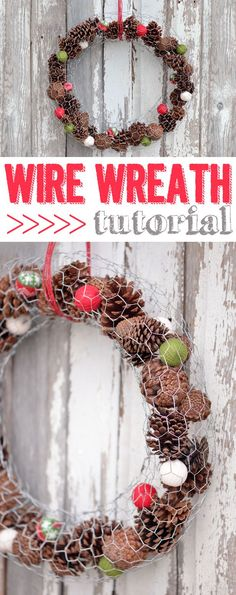 Simplest DIY wreath!  Use chicken wire (or poultry netting) and fill it with whatever speaks the seasons to you.  www.ehow.com/...