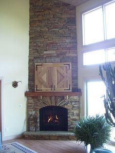 rustic corner fireplaces, high ceilings | stone+corner+fireplaces | Extra High Ceiling Corner Stone Fireplaces ...