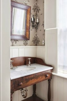 Adapt early 20th century brown furniture & bing it into the 21st century. Powder Room Ideas 25