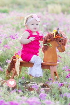 Little girl, wildflowers, rocking horse    Playful Hearts Photography | Ocala, Florida Children and Family Photographer