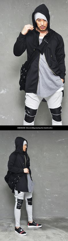 Loose Unbalance Long Poly Zip Up Hood-Jacket 87
