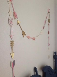 Gold and pink patterned arrow garland by StripestoSparkle on Etsy